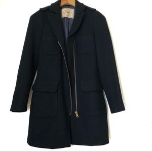 Zara trafaluc Navy Coat wool blend size XS